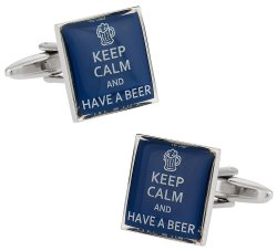 Beer Drinker Gift Idea - Keep Calm Beer Cufflinks