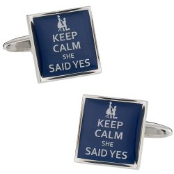 Keep Calm She Said Yes Funny Cufflinks