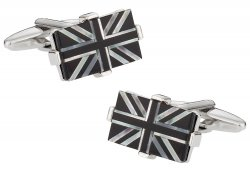 Luxury Union Jack Cufflinks with Onyx & Mother of Pearl
