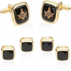 Rectangular Gold Black Masonic Cufflinks and Studs Set
