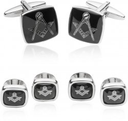 Men's Masonic Tuxedo Cufflinks Studs in Silver