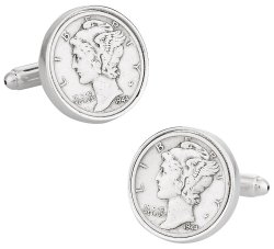 Mercury Dime Coin Cufflinks - Sterling Silver Plate