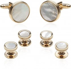 Men's Mother of Pearl Gold Tuxedo Cufflinks Studs Set
