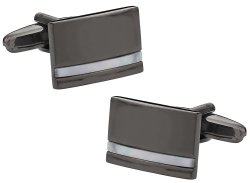 Mother of Pearl Gun Metal Cufflinks