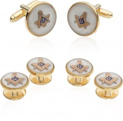 Mother of Pearl Masonic Tuxedo Cufflinks and Studs