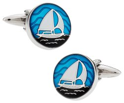 Nautical Blue Enamel Sailboat Cufflinks