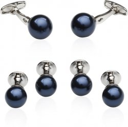 Navy Blue Swarovski Pearl Formal Set Cufflinks & Studs