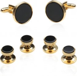 Onyx And Gold Wedding Set Cuff Links Studs