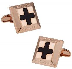 Onyx Cross Rose Gold Cufflinks