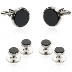 Onyx Silver Tuxedo Cufflinks & Studs for Men