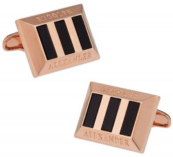 Onyx Heritage Cufflinks in Rose Gold
