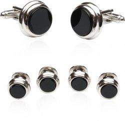 Onyx Step Silver Cufflinks & Studs