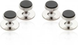 Onyx Studs in Silver Tone