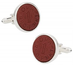 OPA Red Point WWII Ration Cufflinks Clad in Sterling Silver