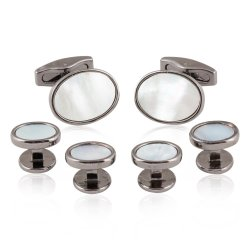 Men's Gunmetal Mother of Pearl Cufflinks Stud Set