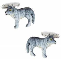 Painted Loan Wolf Cufflinks