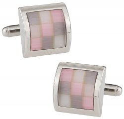 Pink Glass Mosaic Cufflinks