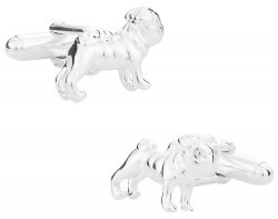 Pug Cufflinks in Solid Sterling Silver