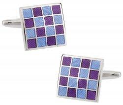 Purple Blue Checkerboard Enamel Cufflinks