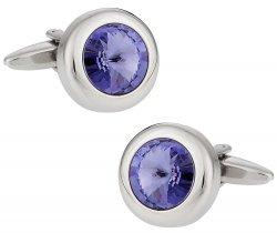 Purple Solitaire Crystal Cufflinks