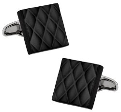 Quilted Metallic Black Cufflinks