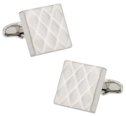 Quilted Metallic Brushed Silvertone Cufflinks