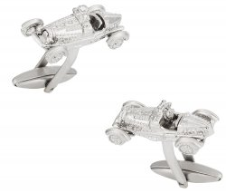 Racecar Cufflinks in Silver