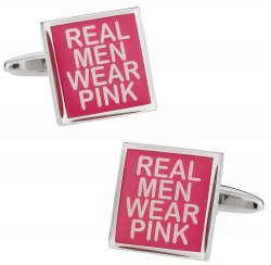Real Men Wear Pink Breast Cancer Awareness Cufflinks