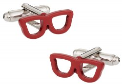 Red Nerd Glass Eyeglass Cufflinks