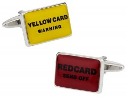 Soccer Cufflinks Red & Yellow Football Card