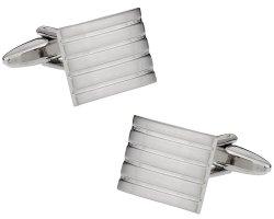 Ribbed Silver Cufflinks