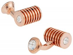 Rose Gold Clear Swarovski Barrel Cufflinks