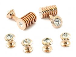 Men's Rose Gold Clear Swarovski Barrel Cufflinks and Studs