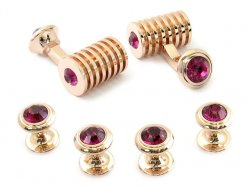 Rose Gold Fuschia Swarovski Barrel Formal Set