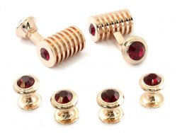 Rose Gold Ruby Red Swarovski Barrel Cufflinks and Studs