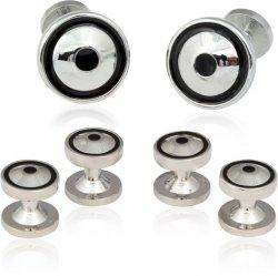 Round Silver Black Tuxedo Cufflinks Studs
