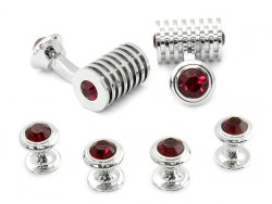 Men's Ruby Red Swarovski Barrel Cufflinks and Studs