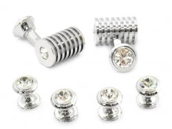 Men's Silver Clear Swarovski Barrel Cufflinks and Studs