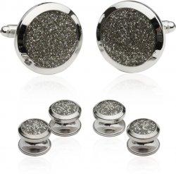 Men's Silver Diamond Dust Tuxedo Cufflinks and Studs