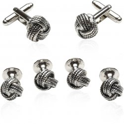 Silver Knot Tuxedo Cufflinks and Studs Set