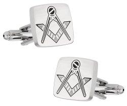 Silver Tone Freemason Cufflinks