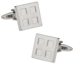 Silvertone Four Square Cufflinks
