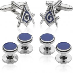 Silvertone Masonic Formal Set Cufflinks Studs Set with Gift Box