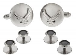 Silvertone USAF Air Force Eagle Device Cufflinks and Studs Formal Set