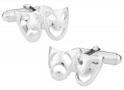 Sterling Silver Drama Mask Cufflinks