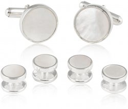 Men's Sterling Silver Mother of Pearl Tuxedo Cufflinks & Studs Set