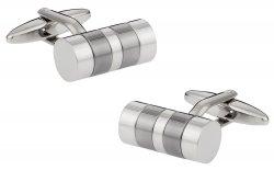 Striped Barrel Silver Cufflinks
