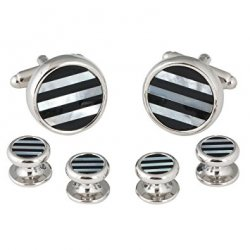 Men's Striped Onyx Mother of Pearl Tuxedo Cufflinks Studs