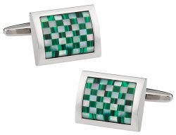 Malachite Cufflinks with Mosaic Mother of Pearl