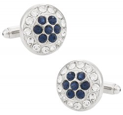 Swarovski Cluster Cufflinks in Clear and Blue